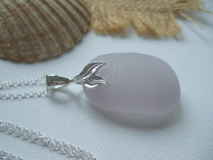 large lavender sea glass pendant