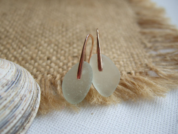 rose gold plated sterling silver sea glass earrings