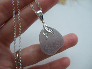 grey mermaid tail sea glass necklace