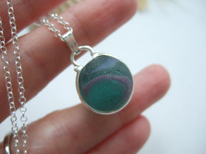 teal and purple sea glass marble necklace