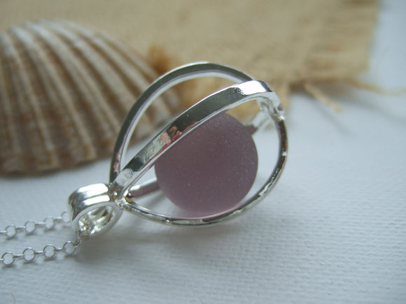 pink purple sea glass marble in locket