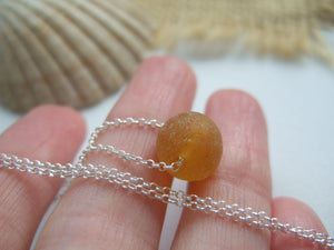 honey color sea glass bead necklace