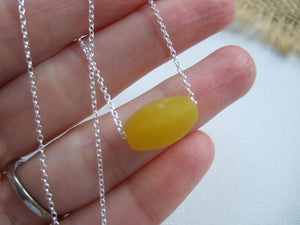 large yellow sea glass bead necklace