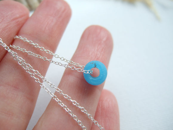 petite turquoise sea glass bead necklace