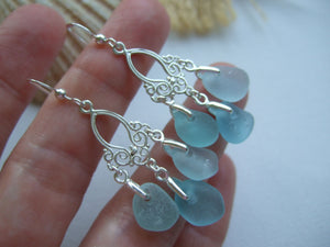 chandelier earrings with ocean color sea glass from japan