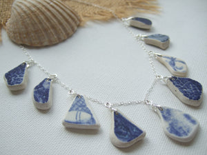 drop shaped blue sea pottery necklace