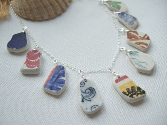 rainbow pattern sea pottery necklace