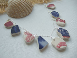 red white blue sea pottery necklace