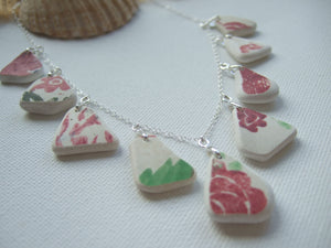 red green flower pattern sea pottery necklace