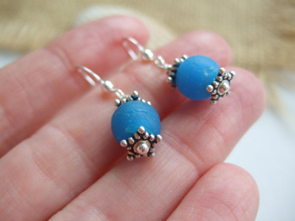 turquoise sea glass bead dangling earrings
