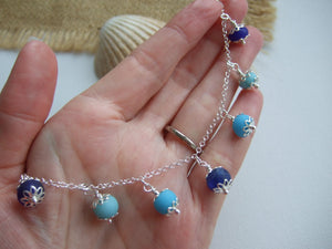 oceanic shades sea glass bead necklace