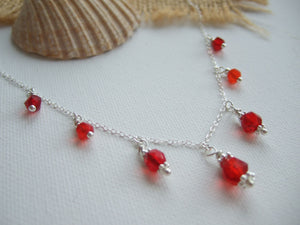 "Red shades sea glass bead necklace, petite - garnet like - 18"" sterling silver"