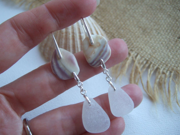 wampum quahog shell earrings with sea glass