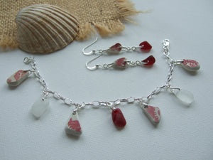 red sea glass and pottery jewellery set