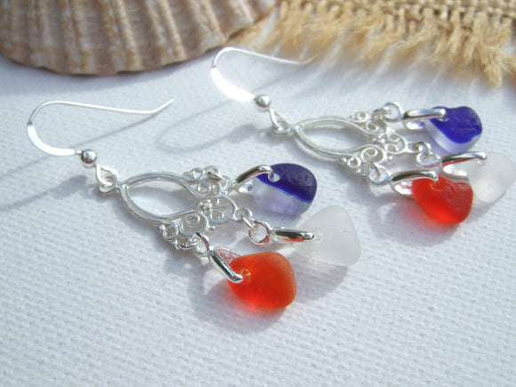 tri color red white blue chandelier sea glass earrings