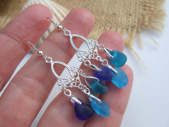 chandelier sea glass earrings