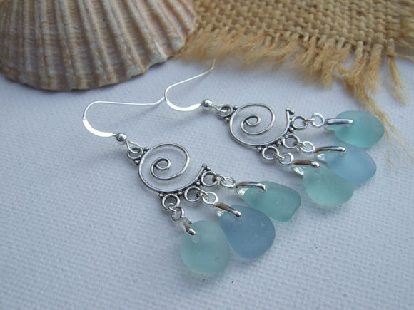 ocean swirl sea glass chandelier earrings