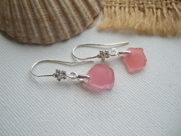 pink sea glass earrings in flower design
