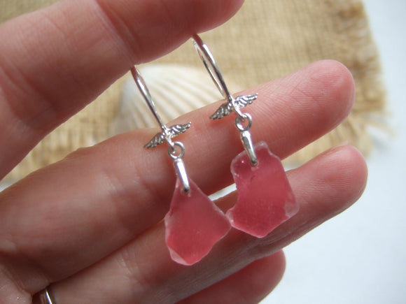 pink scottish sea glass earrings with angel wings