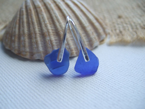 cobalt blue beach glass dangling earrings