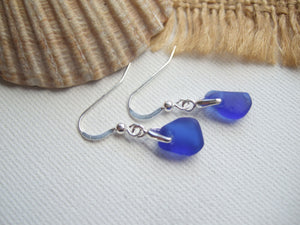 petite blue sea glass earrings
