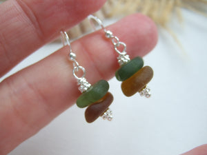 Green Brown Sea Glass Stacker Earrings - DIY Kit available - sterling silver