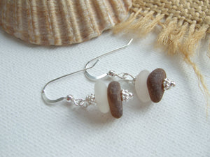 White Brown Sea Glass Stacker Earrings - DIY Kit available - sterling silver