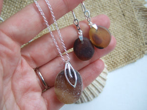 brown sea glass set with earrings and necklace