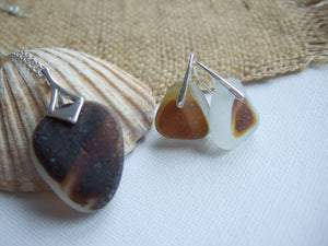 brown multi seaham sea glass jewelry set