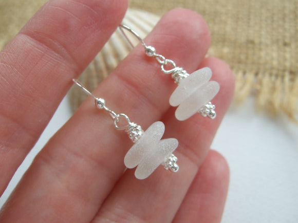 White Sea Glass Stacker Earrings - DIY Kit available - sterling silver