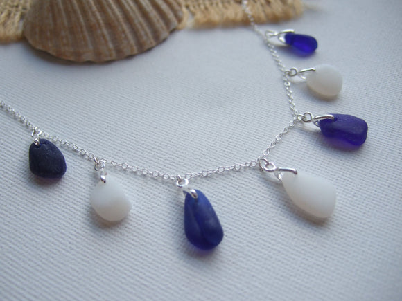 blue and white davenport sea glass necklace