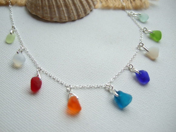 davenport sea glass rainbow necklace