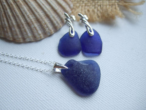 dark blue sea glass jewelry set