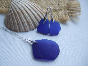 blue beach glass necklace and earrings set