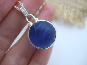 sky blue sea glass marble pendant