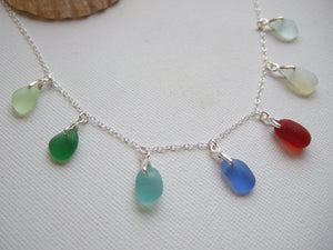 rainbow pastel sea glass necklace