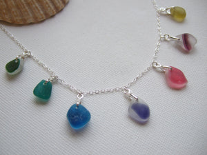 seaham sea glass rainbow necklace sterling silver