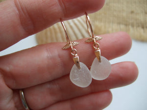 rose gold angel wing earrings with white scottish sea glass