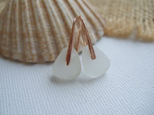 white scottish sea glas earrings with rose gold 14K setting