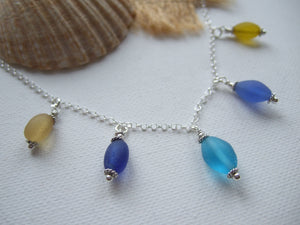 sea glass bead necklace gold blue