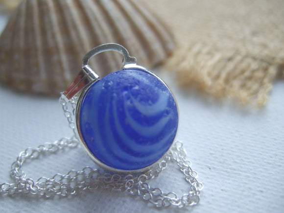 blue marble necklace with waves