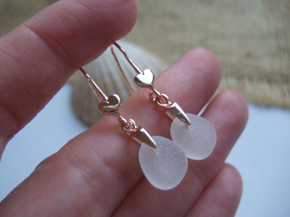 heart design earrings with white scottish sea glass rose gold