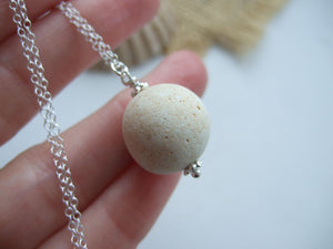 beach found clay marble necklace