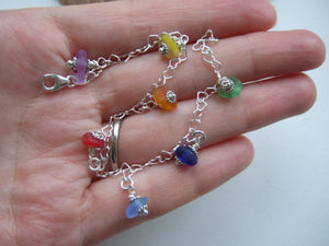 rainbow sea glass heart bracelet
