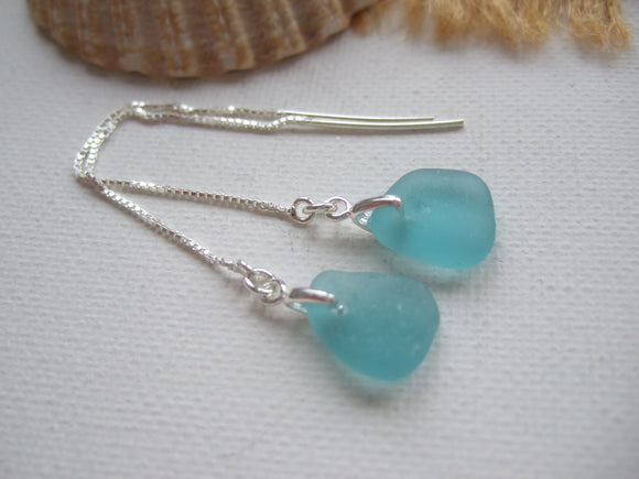 japanese sea glass threader earrings in aqua colour