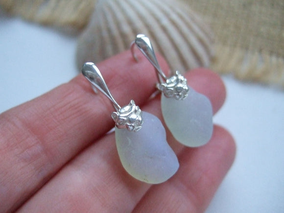 lion leverback earrings with opalite sea glass