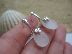lion design lever back white sea glass earrings