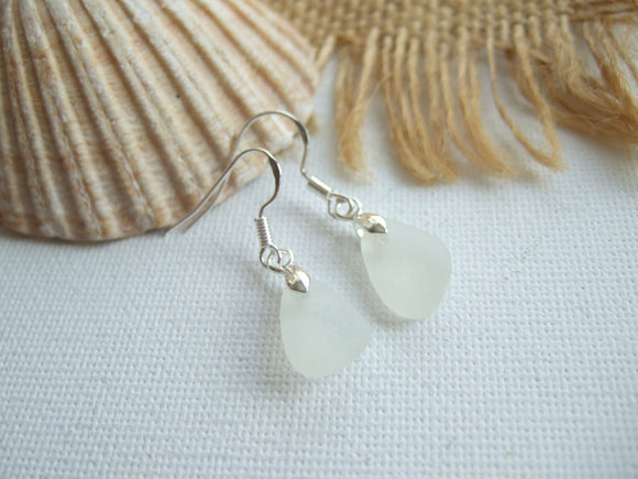 white scottish sea glass earrings
