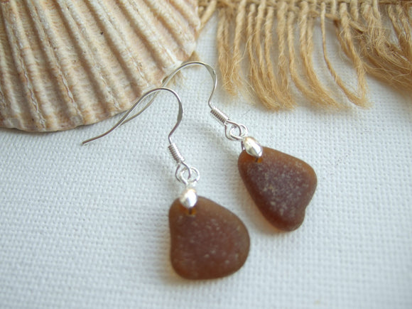 brown sea glass earrings scottish
