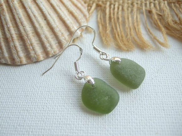 green scottish sea glass earrings